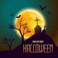 Fondo de Halloween con tumba en de la luna