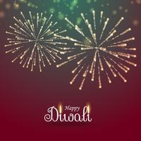 festivalen av ljus glad diwali hälsning med fyrverkerier