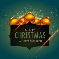 Elegante diseño de saludo de feliz Navidad con bolas doradas y sn