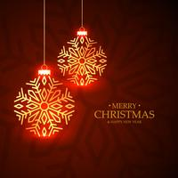 golden glowing christmas balls greeting card on red background