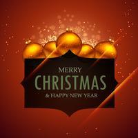 Feliz Navidad y año nuevo con decoración de bolas.