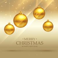 premium Kerstvieringsachtergrond met hangende gouden bal