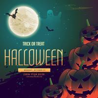 Fondo de halloween con calabazas y luna