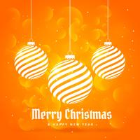 orange background with hanging christmas balls in white color wi