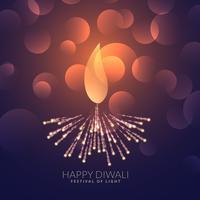 Diya diwali criativo com efeito bokeh