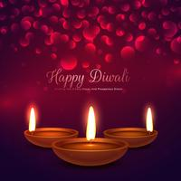Fondo feliz diwali con efecto diya y bokeh