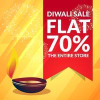 banner promocional de venta de diwali hermosa con diya en y