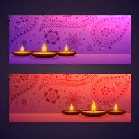set of diwali festival banners