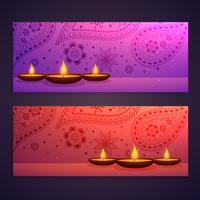 conjunto de banners del festival de diwali