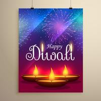 feliz diwali festival saudação design com diya e fogos de artifício
