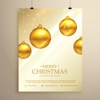 Weihnachts-Flyer Broschürenvorlage mit hängenden goldenen Kugeln Deko