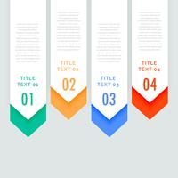 fyra steg infografiska vertikala banderoller med pilen går ner