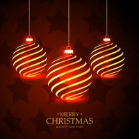 Fondo de estrellas rojas con colgantes de bolas de navidad doradas.