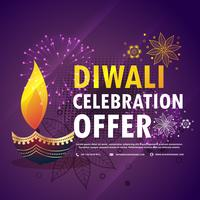 diwali celebration offer with diya on purple background