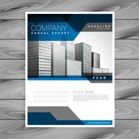 modello di disegno vettoriale blu brochure aziendale