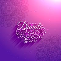 Fondo artístico feliz diwali púrpura con patrón de mandala y