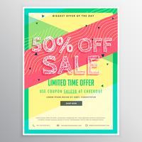 Plantilla de folleto de venta de descuento para la comercialización con colorido abst