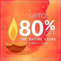 Festival diwali con descuento y oferta banner con diya en wat naranja