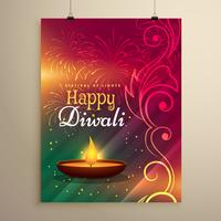 beautiful diwali festival greeting template with floral decorati