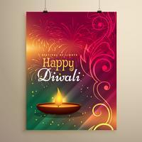 prachtige diwali festival groet sjabloon met florale decorati