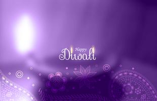 purple happy diwali greeting with blurred diya