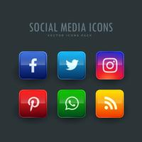 standard button style social network icons pack