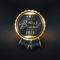 no.1 brand of the year golden label design