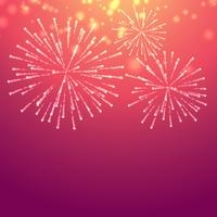 fundo rosa com fogos de artifício de celebração