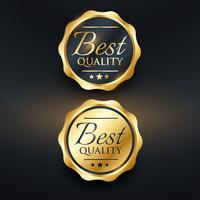 melhor design de vetor de rótulo dourado de qualidade