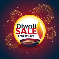 festival diwali sale banner with fireworks and beautiful diya