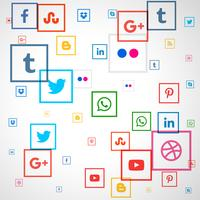 social media square icons background
