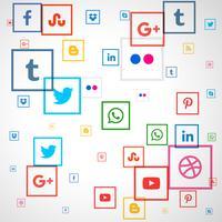 fundo de ícones quadrados de mídia social