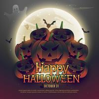 calabazas de halloween de miedo en la luna