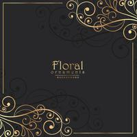 golden floral frame on dark background