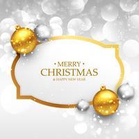 Hermoso diseño de saludo de feliz Navidad con oro realista un
