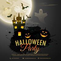 Fondo de noche de Halloween con castillo espeluznante, fantasma, calabaza