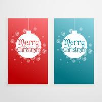 conjunto de dos banners de navidad vertical saludo de vacaciones