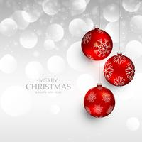 amazing red christmas hanging balls on silver bokeh background