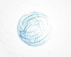vector de malla de alambre de tecnología circular azul