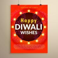 feliz diwali deseja saudação design de modelo de panfleto