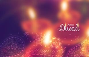 schöne glückliche Diwali-Tapete mit unscharfem Hintergrund und Pai