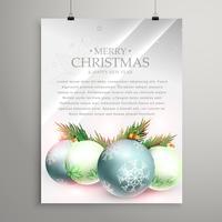 Folleto de plantilla de tarjeta de felicitación de Navidad con festival realista b