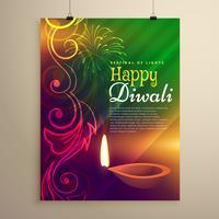 schöne Diwali Flyer Vorlage mit Diya und Blumenmuster