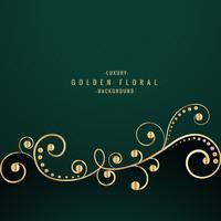 diseño floral de oro sobre fondo verde