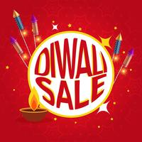diwali sale poster with festival crackers and diya