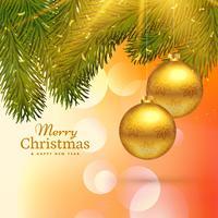 belo design de cartão feliz Natal com ouro pendurado