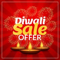 diwali sale offer discount marketing template with diya and fire