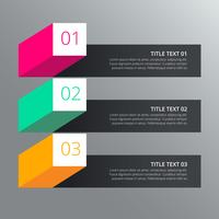 drie stappen infograph ontwerp met verschillende kleuren in 3D-stijl
