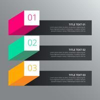 Diseño infográfico de tres pasos con diferentes colores en estilo 3d.