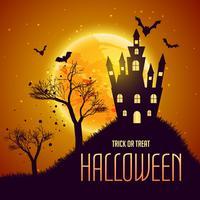 halloween fest bakgrund med haunter hus och flygande b